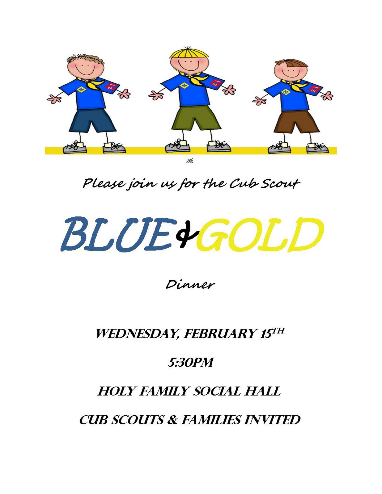 Holy Family Cub Scout Pack 461 Blue And Gold Banquet