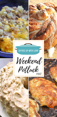 Weekend Potluck featured recipes include Ground Beef Casserole, Cinnamon Crescent Swirl Bread, Mayo Parmesan Chicken, Pecan Cream Pound Cake
