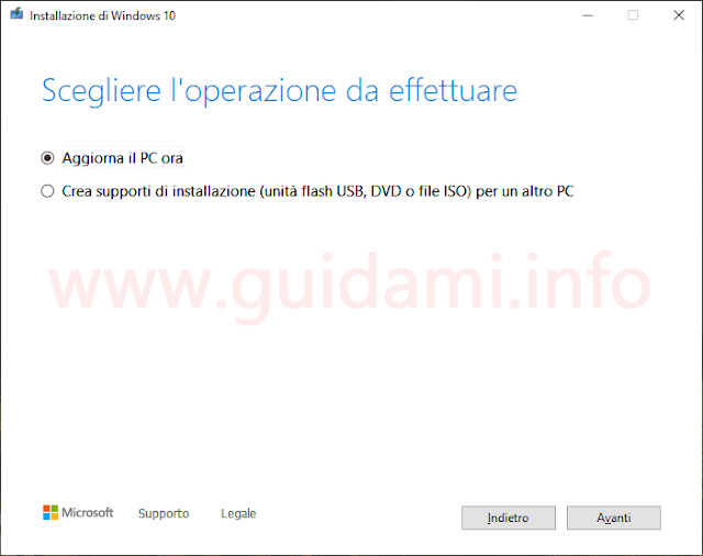 Installazione di Windows 10