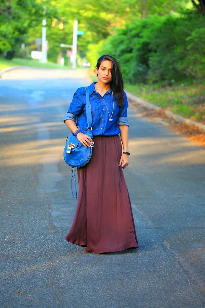 Chambray Shirt - GAP Maxi Skirt - Stylein, Footwear - From India Bag - Chloe Tanvii.com