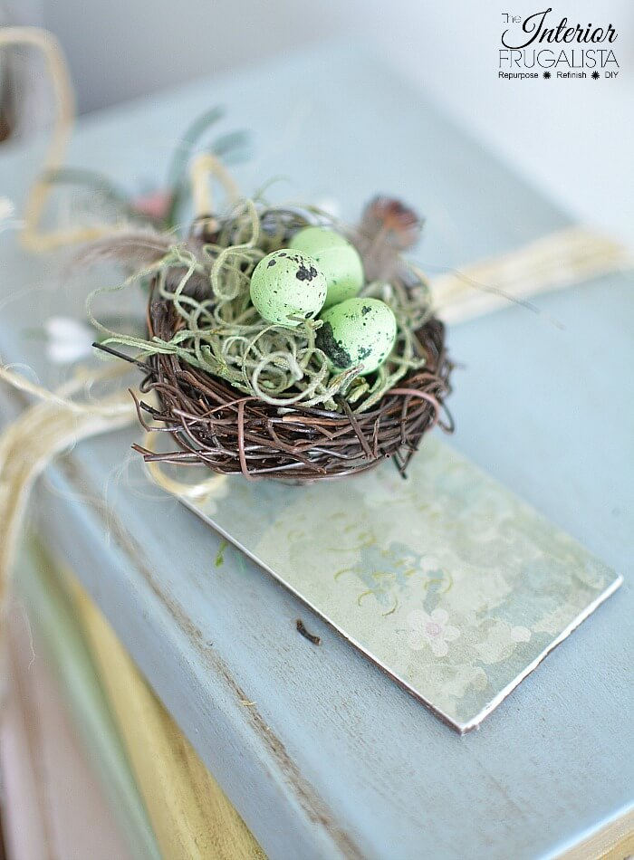 Decorative Painted Books With Birds Nest For Spring