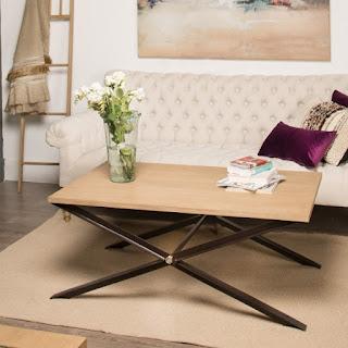 mesa baja de centro forja madera