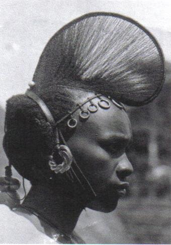 Woman with complex coiffure and hair ornaments Fulani, West Africa  Photo: Afrika Museum, Berg en Dal