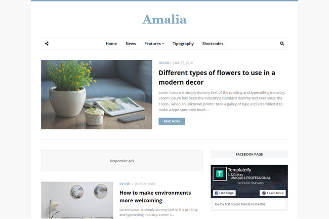 Amalia simple white blogger templates