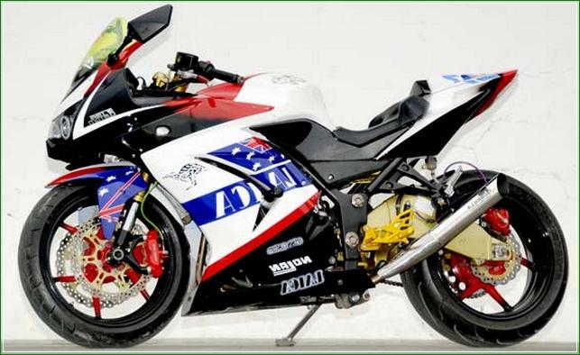 Modif Velg racing - Contoh Gambar Dan Foto Konsep Desain Modifikasi Kawasaki Ninja 4 Tak 250cc Sporti Ala Moge Keren Banget