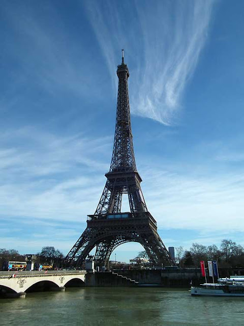 Eiffel Tower with the Seine in flood, Paris, France. Photo by Loire Valley Time Travel.