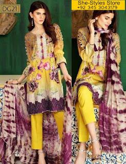 Charizma Naranji Digital Lawn Vol 2 Eid Collection 2017