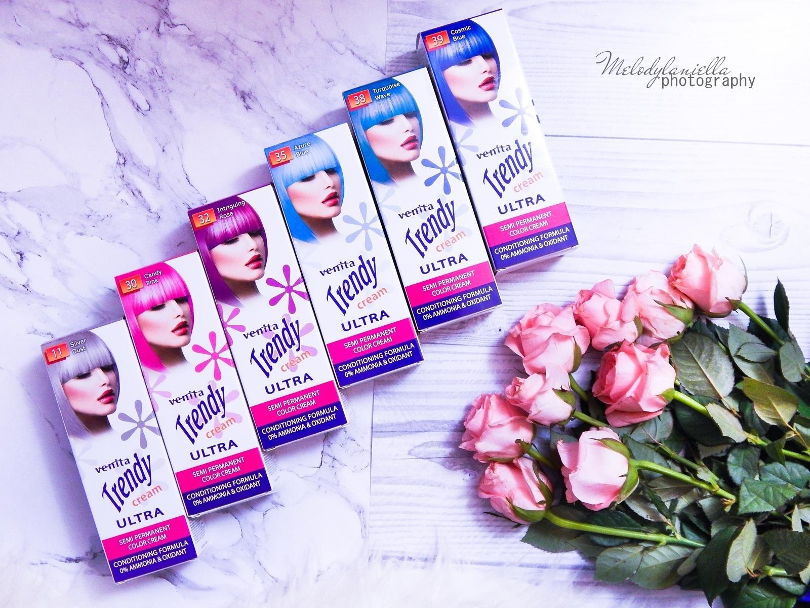2 venita trendy cream ultra farba recenzja opinie jednodniowa farba do włosów koloryzacja półtrwała różowa turkusowa niebieska farba do włosów kolorowe włosy