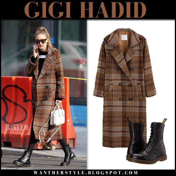 Gigi Hadid in brown checked mango coat with black boots dr. martens model winter street style november 18
