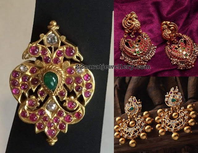 Peacock Kundan Earrings with Pearls