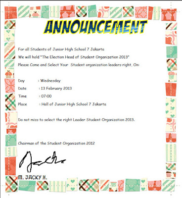 Contoh Announcement Text Nahason Learning