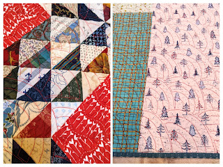 Two photos show how the curves of Baptist Fan quilting appears on both sides of this quilt