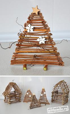 Christmas crafts made with twigs. Новогодние поделки из веток, елочки и домики. Поделка в детский сад и школу.