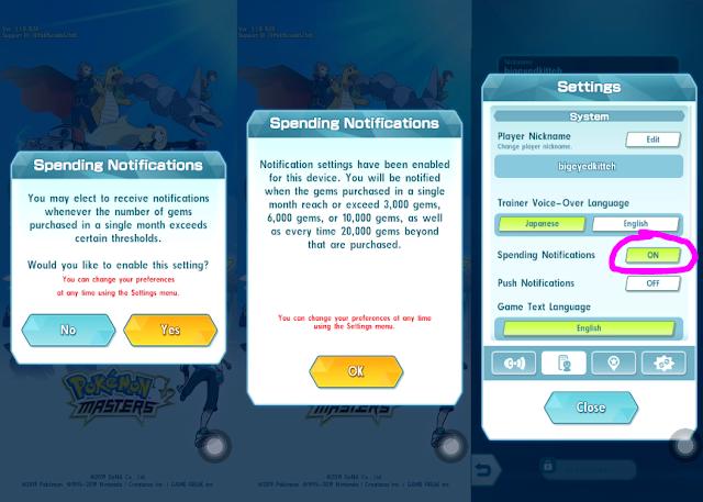 Pokemon Masters Spending Notification