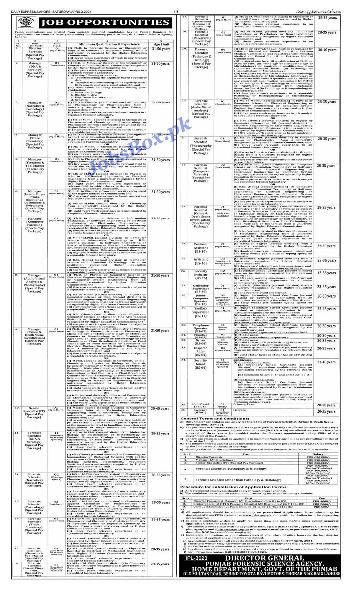 Latest Punjab Forensic Science Agency PFSA Jobs 2021