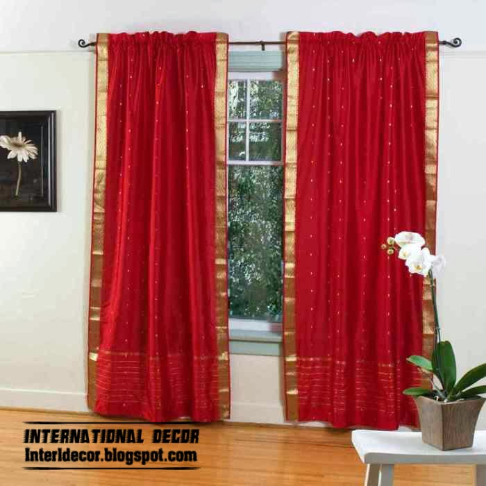 Red Curtains And Window Treatments In The Interiors