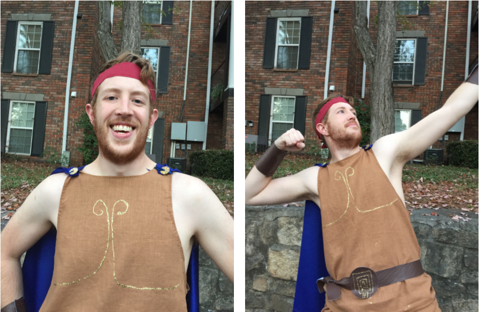 Chris in his Disney Hercules Halloween Costume