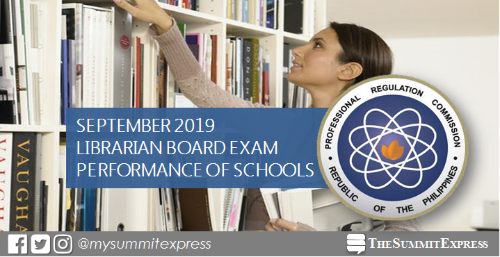 PERFORMANCE OF SCHOOLS: Librarian board exam result September 2019