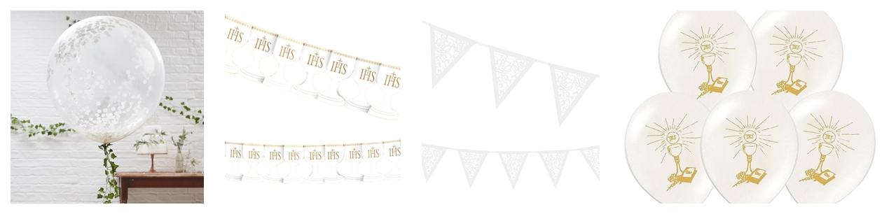 t4  girlandy białe komunijne balony z okazji pierwszej komunii świętej dekoracji dodatki atrakcje dla dzieci jak zorganizować komunię w domu ceny promocje pomysły inspiracje biel
