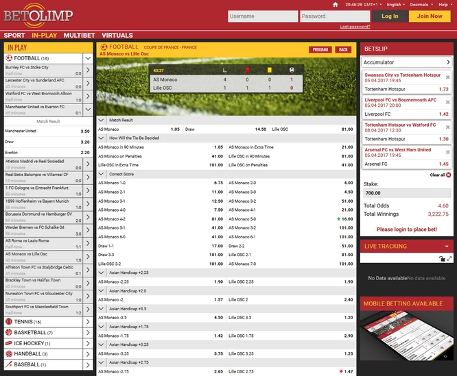 Betolimp Live Betting Screen