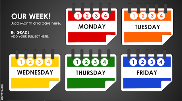 Modified Weekly Planner for Online Lessons from SlidesMania