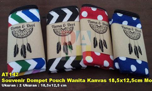 Souvenir Dompet Pouch Wanita Kanvas 18,5x12,5cm Motif