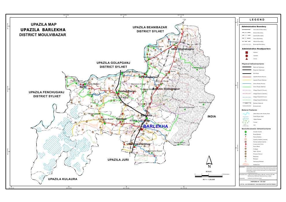 Barlekha Upazila Map Moulvibazar District Bangladesh
