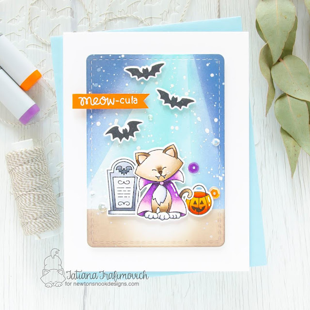 Halloween Vampire Cat Card by Tatiana Trafimovich   Count Newton Stamp Set and Frames & Flags Die Set by Newton's Nook Designs #newtonsnook