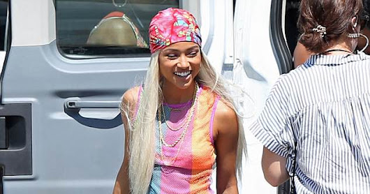 Karrueche Tran & Niecey Nash in Miami filiming up coming scenes for TNT Show #CLAWS