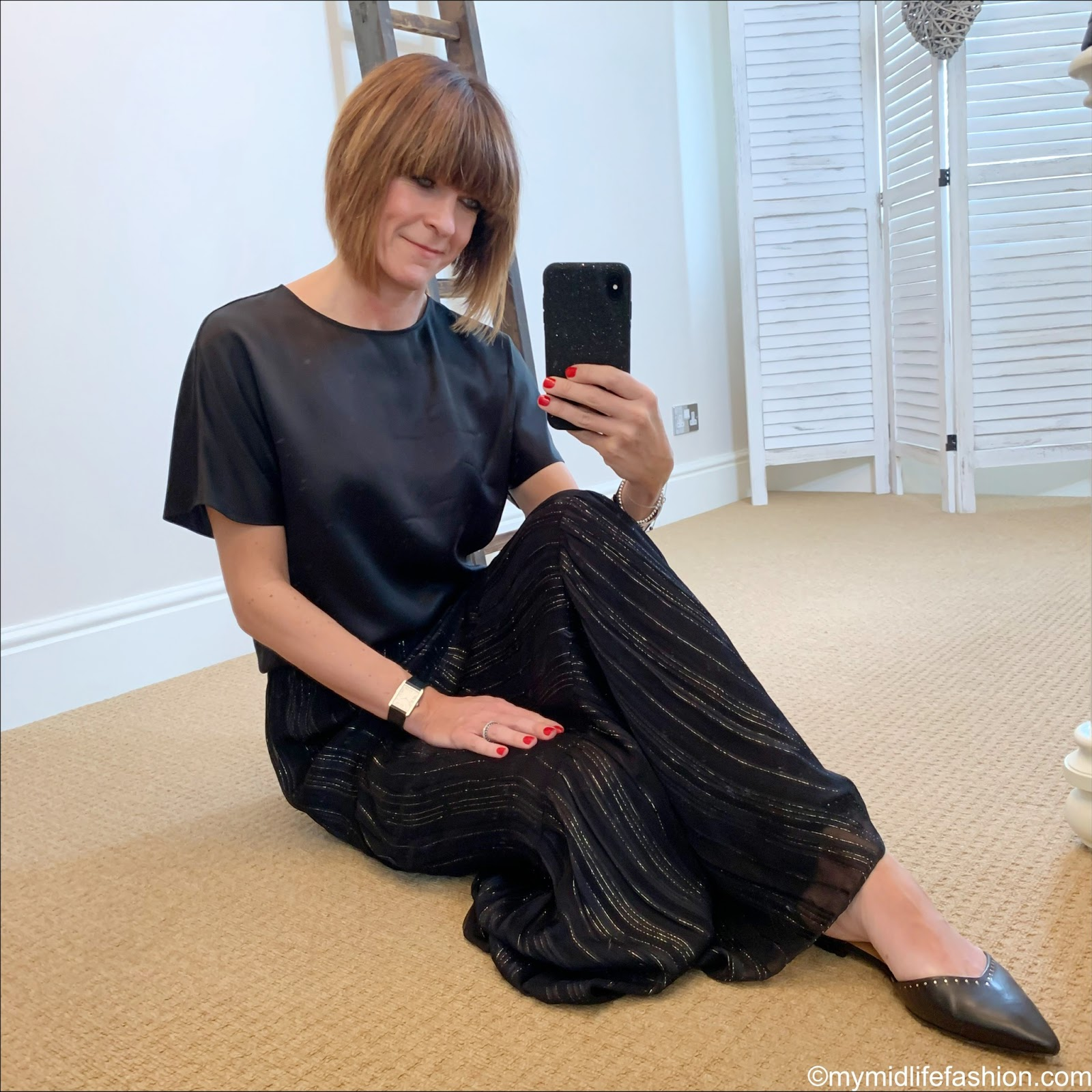 my midlife fashion, marks and Spencer pure silk shell top, and other stories metallic stripe maxi skirt, Isabel Marant studded flat shoes