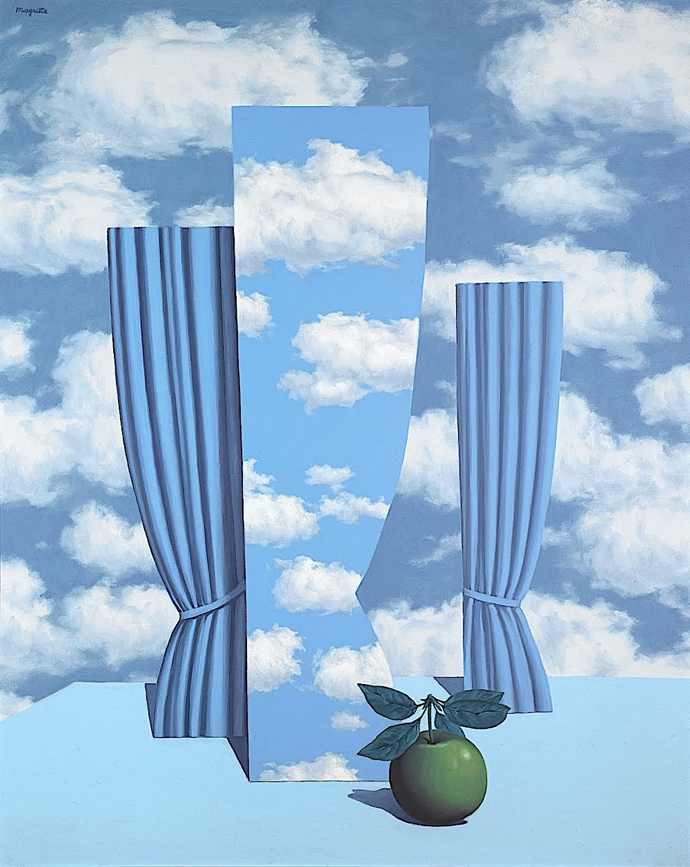 a René Magritte painting of apples and window curtains