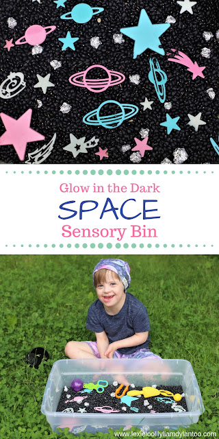 Glow in the Dark Space Sensory Bin