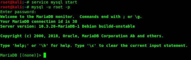 mysql in Kali Linux