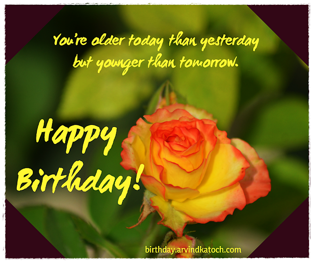 older, yesterday, Rose, Rose card, younger, tomorrow, Birthday card,