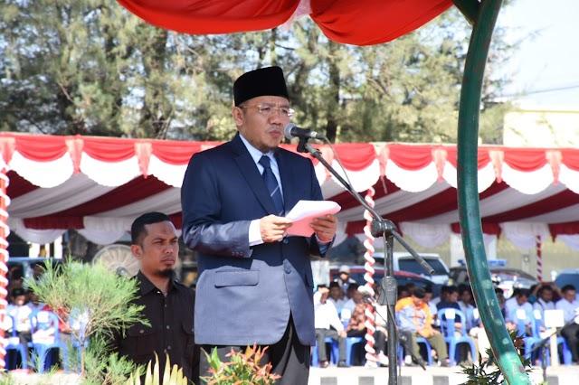 Bupati Najmul Pimpin Apel Gelar Pasukan PAM Pilkades Serentak 2019