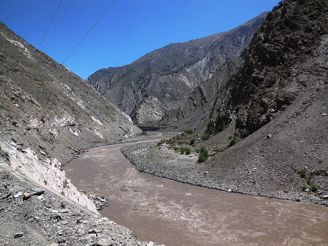 Barren landscape with muddy Sutlej river