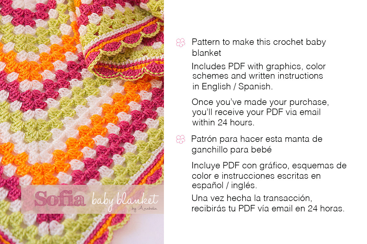 Sofia crochet baby blanket pattern by Anabelia Craft Design