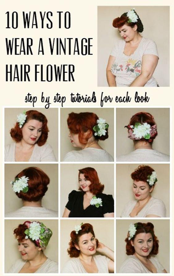 10 ways to wear a vintage hair flower retro hair styling tutorial