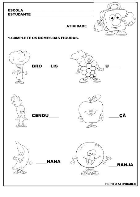Atividade alfabetização alimentação saudável
