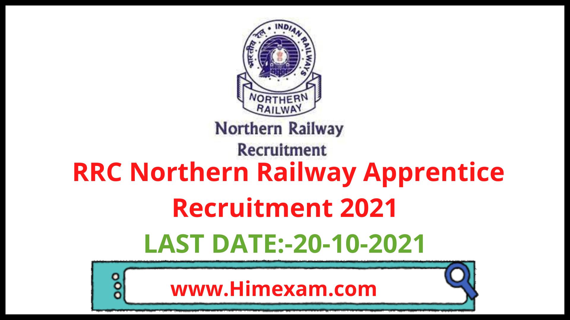 RRC Northern Railway Apprentice Recruitment 2021