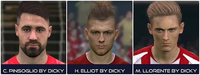 PES 2017 Pinsoglio, Harvey Elliot and Llorente Face by Dicky