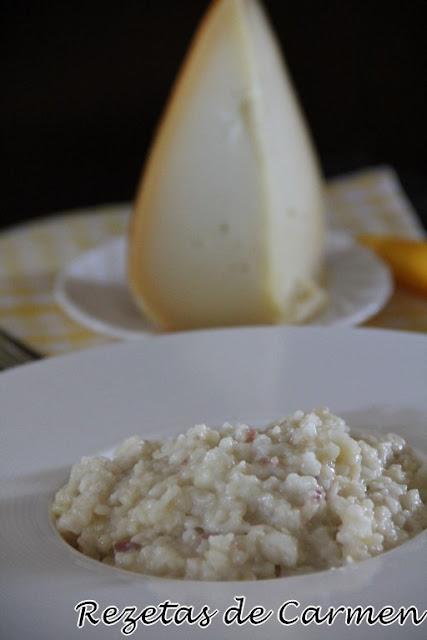 Risotto de queso San Simon y champiñones