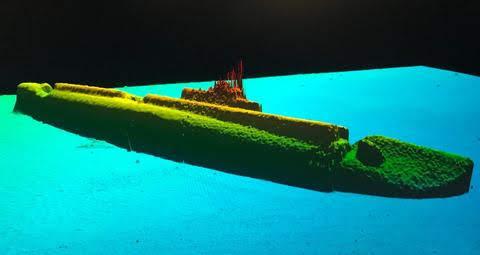 Una imagen sonar de la U.S.S. Grayback acostado a una profundidad de 1.400 pies.