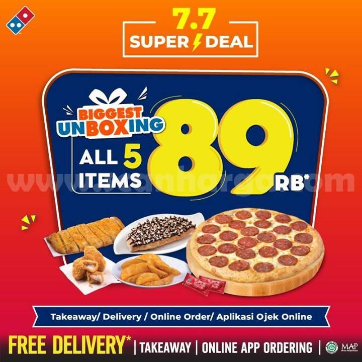 Domino's Pizza Promo 7.7 SUPER DEAL! UNBOXING CUMA 89rb