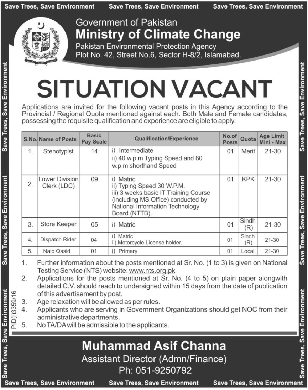 Ministry Of Climate Change Jobs In Islamabad