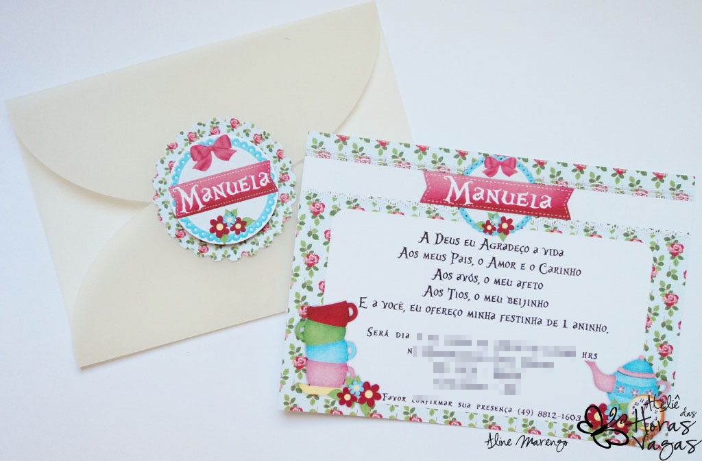 convite artesanal provençal floral alice no país das maravilhas aniversário 1 aninho bebê