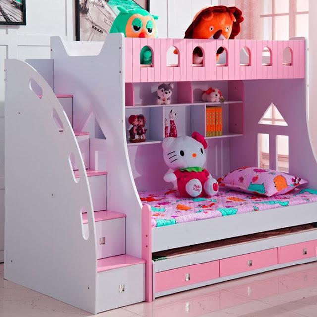 Giường ngủ 2 tầng xinh xắn dành cho bé gái