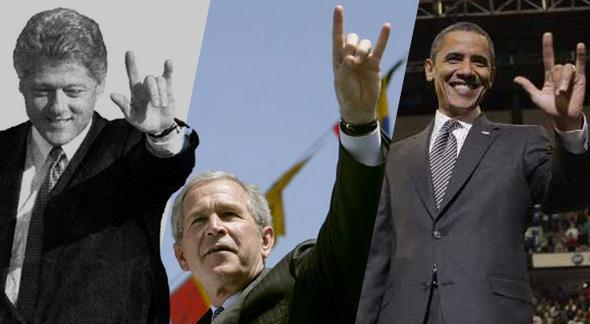 la mano cornuda o la señal de satanás efectuada por clinton, bush y obama