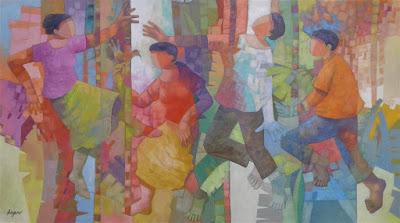 """""""Brasileiros dançam enquanto labutam"""" - este poderia ser o título da pintura onde Adagenir assimila aspectos da obra de Candido Portinari em seu universo."""