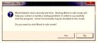 Word failed to start correctly last time. Starting Word in safe mode will help you correct or isolate a startup problem in order to successfully start the program. Some functionality may be disabled in this mode